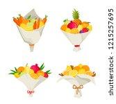 unusual bouquets of fruits... | Shutterstock .eps vector #1215257695