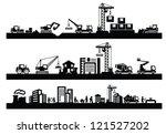 vector black construction icons ... | Shutterstock .eps vector #121527202