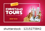 christmas tours travel promo... | Shutterstock .eps vector #1215275842