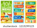 fast food menu of snacks ... | Shutterstock .eps vector #1215299125