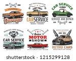 car repair service  retro motor ... | Shutterstock .eps vector #1215299128
