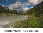 Mountain lake, West Siberia, Altai mountains, Katun ridge - stock photo