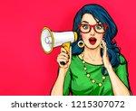 amazed pop art girl in glasses... | Shutterstock . vector #1215307072