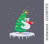 pixel art cheerful white bear... | Shutterstock .eps vector #1215307372