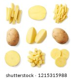 set of fresh whole and sliced... | Shutterstock . vector #1215315988