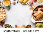 thanksgiving dinner with... | Shutterstock . vector #1215316195