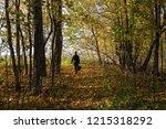 a man walks through the autumn...   Shutterstock . vector #1215318292