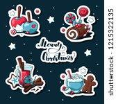 doodle christmas stickers set....   Shutterstock .eps vector #1215322135