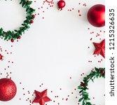 christmas composition. wreaths  ... | Shutterstock . vector #1215326635