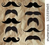 crumpled old paper with mustache | Shutterstock . vector #1215335605