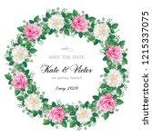 romantic  wreath of flowers ... | Shutterstock .eps vector #1215337075