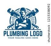 plumbing logo template with... | Shutterstock .eps vector #1215338092
