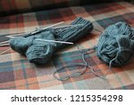 handmade woolen socks being... | Shutterstock . vector #1215354298