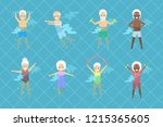 set of old people doing... | Shutterstock .eps vector #1215365605
