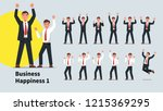 business men gesture set.... | Shutterstock .eps vector #1215369295
