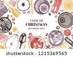 winter drink bar menu. hand... | Shutterstock .eps vector #1215369565