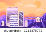 beautiful color autumn town... | Shutterstock .eps vector #1215375772