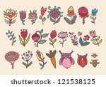 big flowers collection | Shutterstock .eps vector #121538125