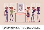visitors in the museum. group... | Shutterstock .eps vector #1215399682