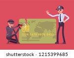 credit card hacking. masked man ... | Shutterstock .eps vector #1215399685