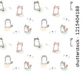 seamless pattern of cartoon cat ... | Shutterstock .eps vector #1215404188