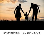 silhouette of family happy...   Shutterstock . vector #1215405775