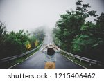 travel woman with backpack and... | Shutterstock . vector #1215406462