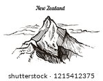 high mountain in the clouds of... | Shutterstock .eps vector #1215412375