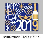 2019 happy new year greeting... | Shutterstock .eps vector #1215416215