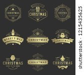 christmas labels and badges... | Shutterstock .eps vector #1215435625