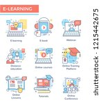 e learning concept icons  thin... | Shutterstock .eps vector #1215442675