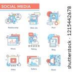 social media concept icons ... | Shutterstock .eps vector #1215442678