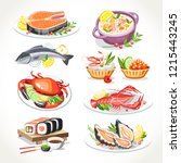 seafood festive dishes set with ... | Shutterstock .eps vector #1215443245