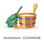 sauna bathhouse objects oak... | Shutterstock .eps vector #1215443248