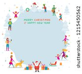 christmas  people in action ... | Shutterstock .eps vector #1215450562