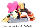 open silver suitcase with... | Shutterstock . vector #121545466