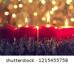 third advent candle burning ... | Shutterstock . vector #1215455758