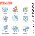 location concept icons  thin... | Shutterstock .eps vector #1215458002
