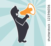 cartoon with megaphone.... | Shutterstock .eps vector #121546036