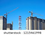 high rise cranes and building... | Shutterstock . vector #1215461998