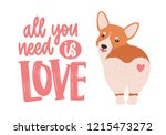 cute welsh corgi with heart on... | Shutterstock .eps vector #1215473272