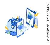 pair of modern mobile phones ... | Shutterstock .eps vector #1215473302