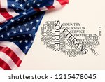 some american flags and a tag... | Shutterstock . vector #1215478045
