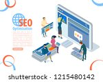 seo optimization with pay per... | Shutterstock .eps vector #1215480142