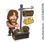 cartoon muscular biker... | Shutterstock .eps vector #1215483298