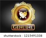 golden emblem with heart with... | Shutterstock .eps vector #1215491338