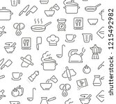 seamless pattern with cooking.... | Shutterstock .eps vector #1215492982