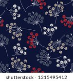 seamless flower pattern on navy  | Shutterstock .eps vector #1215495412