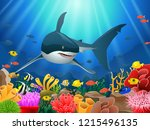 sharks and coral reefs in the... | Shutterstock . vector #1215496135