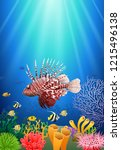 lionfish and coral reefs in the ... | Shutterstock . vector #1215496138
